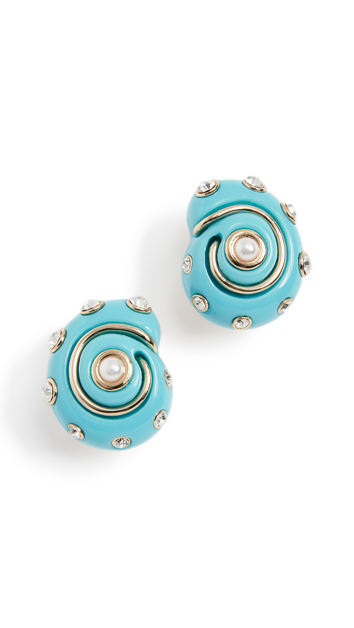 Kenneth Jay Lane Shell Earrings In Turquoise
