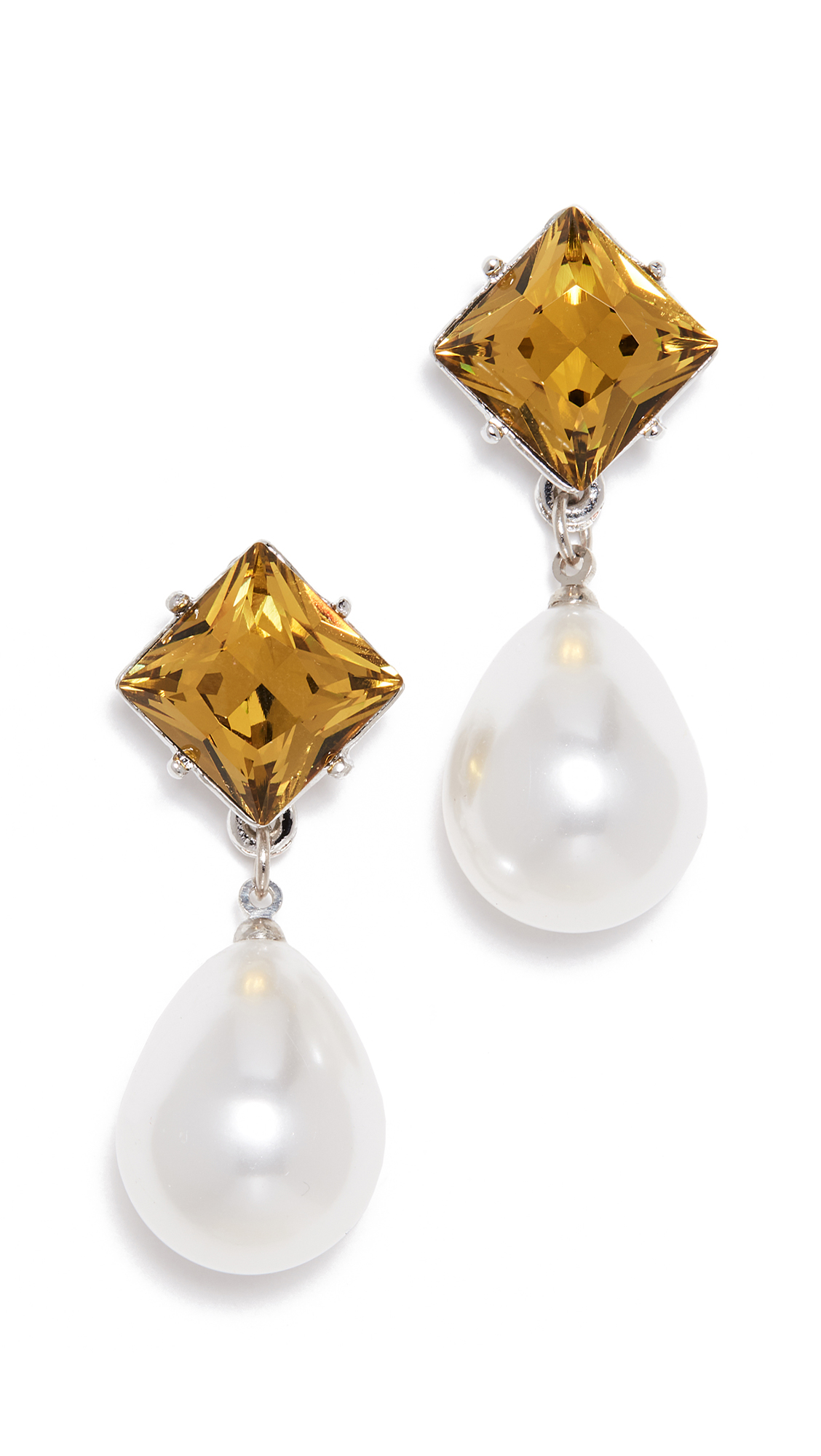 Kenneth Jay Lane Imitation Pearl Drop Earrings - Pearl/Olive