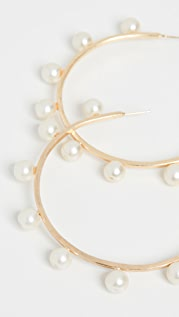 Kenneth Jay Lane Gold Pearls Hoop Pierced Earrings