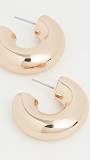 Kenneth Jay Lane Polished Gold Chubby Hoop Earrings