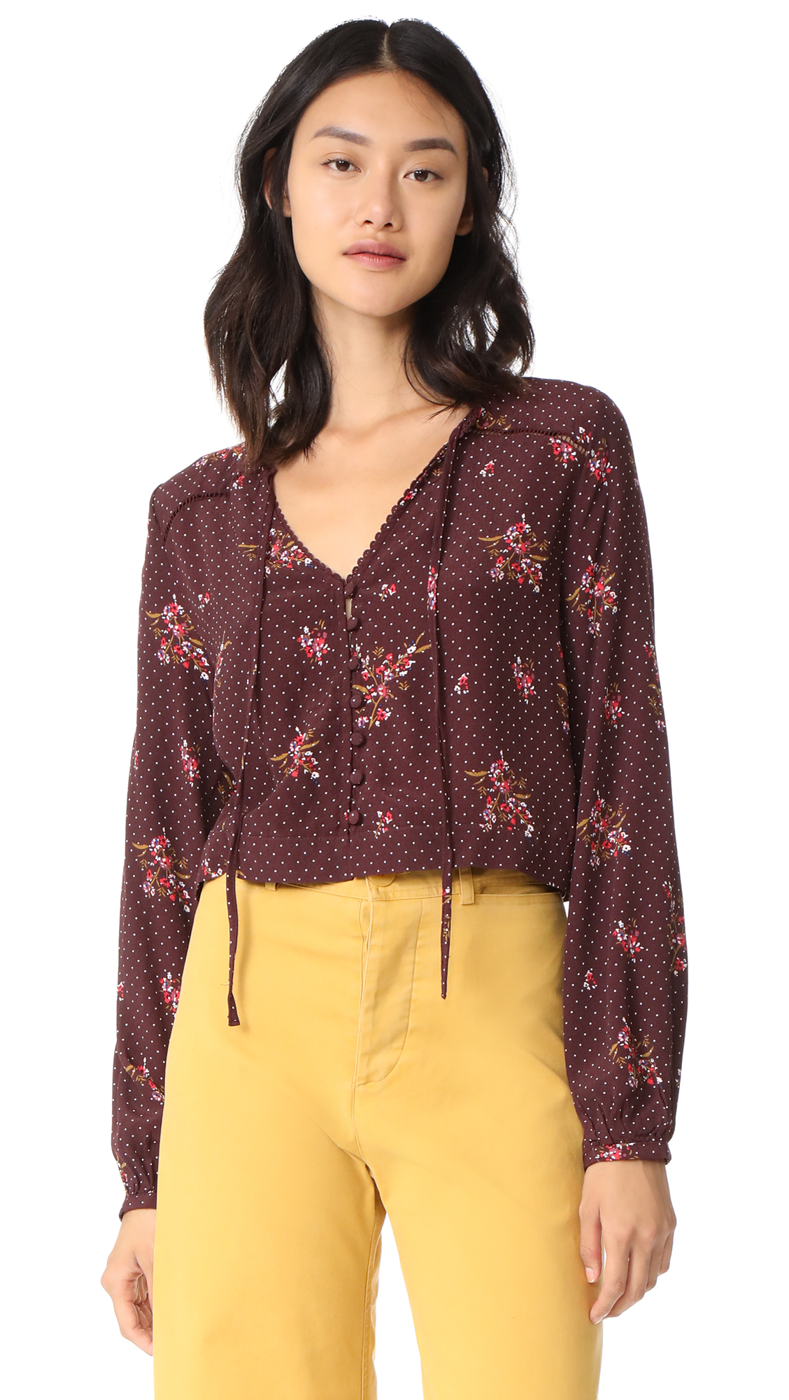 Knot Sisters Willow Top - Burgundy Canyon Floral