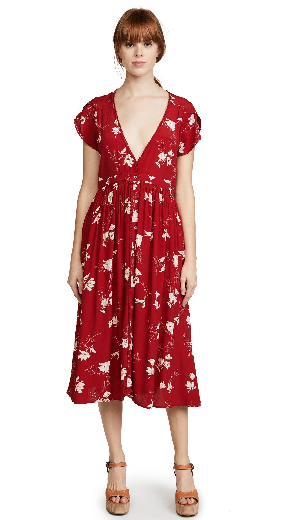 Knot Sisters Domingo Dress In Scarlet Tulips