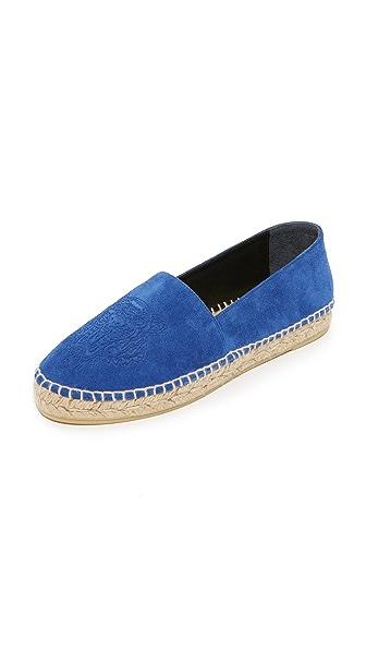 KENZO Suede Tiger Flat Espadrilles - Bleu