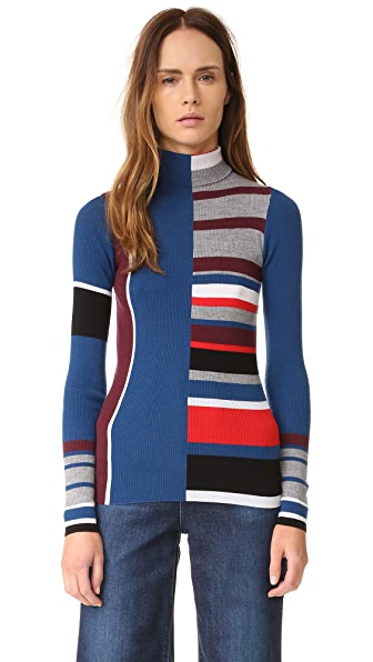 KENZO Ribbed Colorblock Sweater - Burgundy