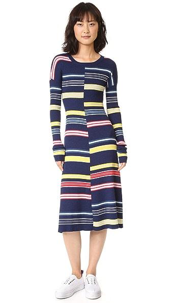 KENZO Платье в полоску с цветными блоками