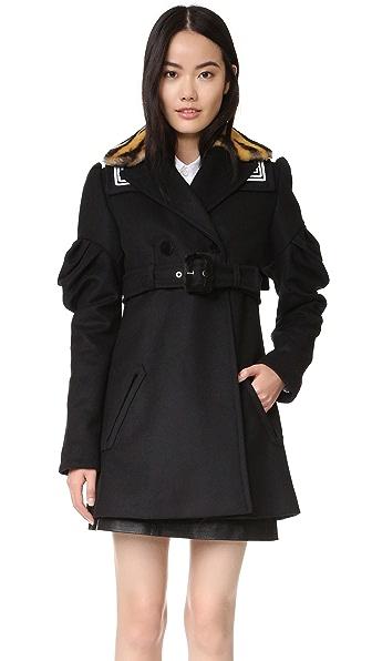 KENZO Ruffle Sleeve Trench Coat - Black