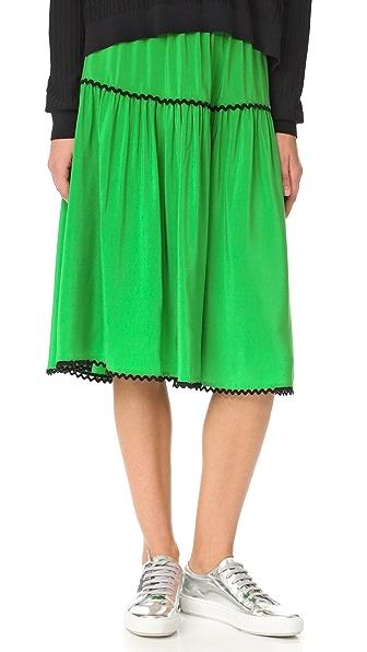 KENZO Silk Midi Skirt - Grass Green