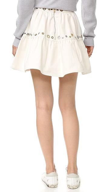 KENZO White Denim Eyelet Skirt
