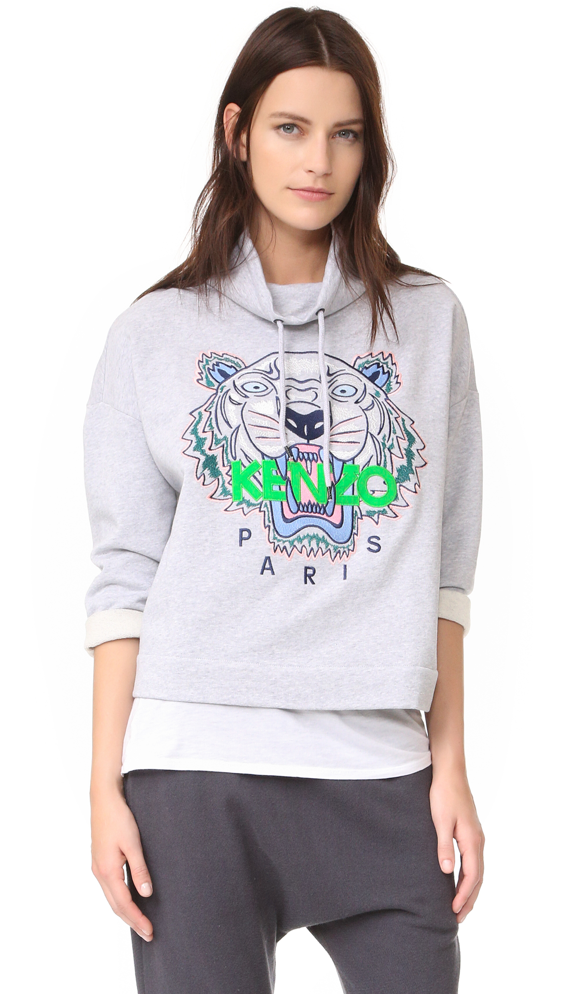 KENZO Embroidered Tiger Pullover - Light Grey