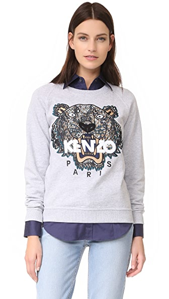 KENZO Snake x Tiger Embroidered Sweatshirt - Light Grey