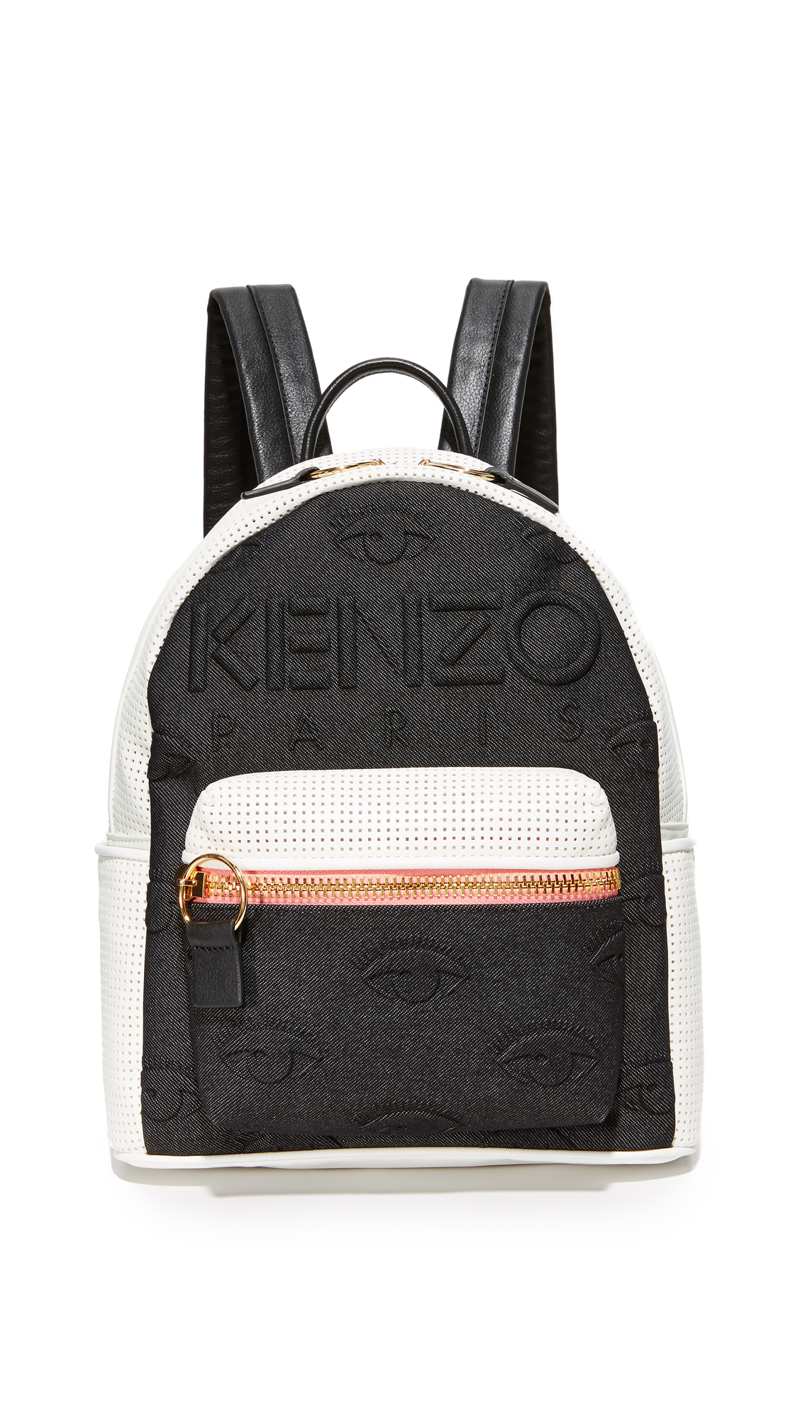 A colorful KENZO backpack made from padded neoprene and perforated leather. Zip front pocket and slim side pockets. The wraparound top zip opens to a lined interior with 3 pockets. Locker loop and adjustable shoulder straps. Dust