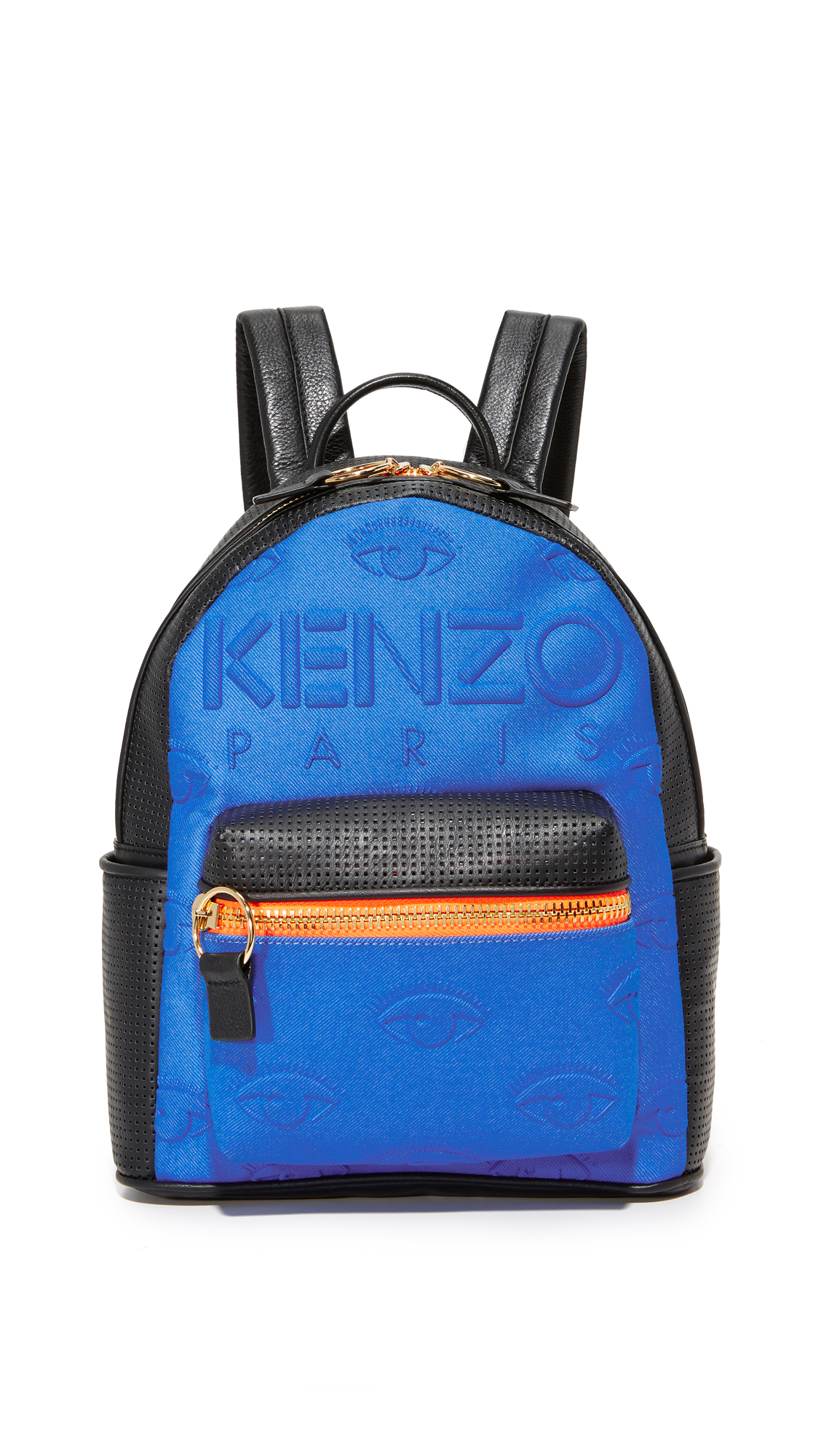 A colorful KENZO backpack in a mix of padded neoprene and perforated leather. Zip front pocket and slim side pockets. The wraparound top zip opens to a lined interior with 3 pockets. Locker loop and adjustable shoulder