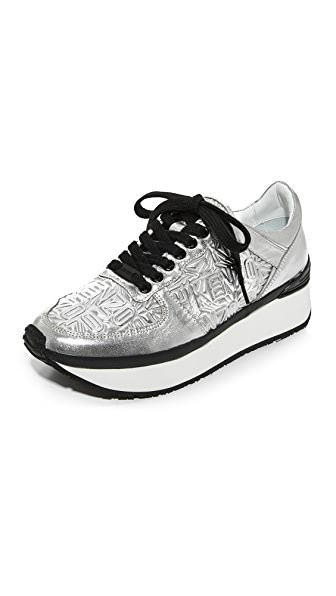KENZO Lace Up Sneakers - Silver