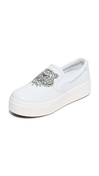 KENZO K-PY Platform Slip On Sneakers - White