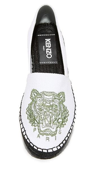KENZO Optic White Canvas Tiger Espadrilles