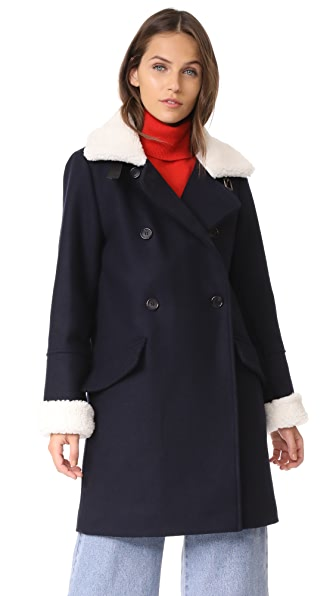KENZO Double Breasted Coat - Navy Blue