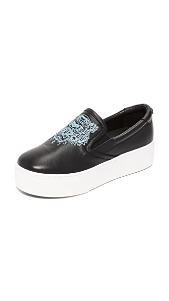 KENZO Kpy Platform Slip On Sneakers - Black