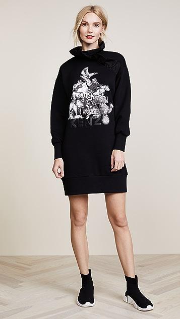 KENZO Ruffle Neckline Sweatshirt Dress