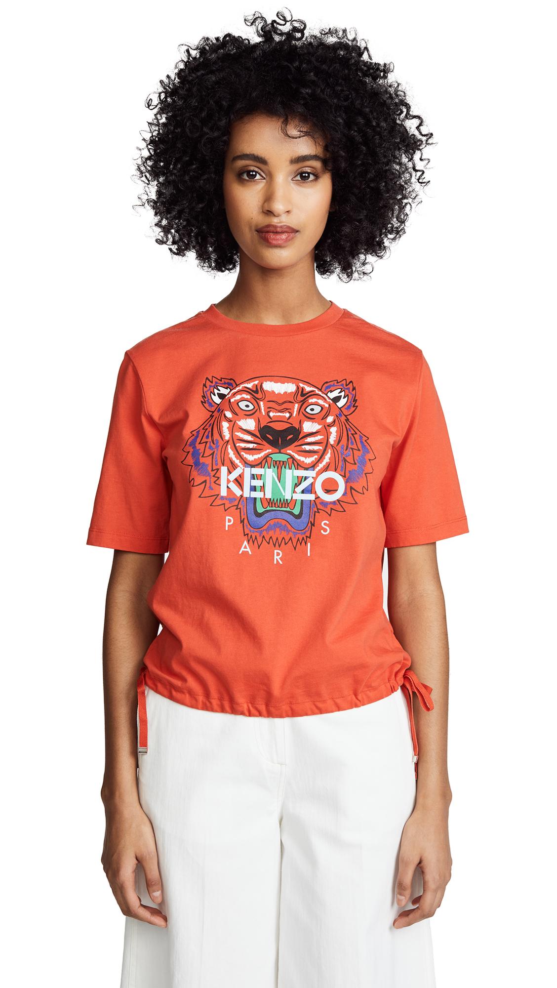 KENZO Tiger Drawstring T-Shirt In Medium Red