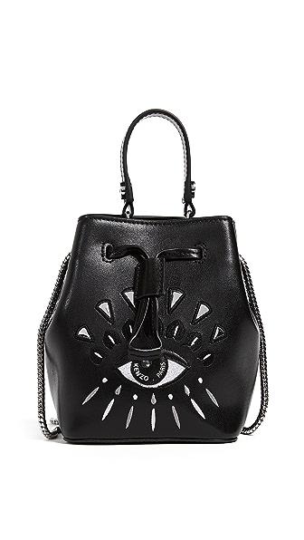 Mini Eye Embroidery Leather Bucket Bag - Black