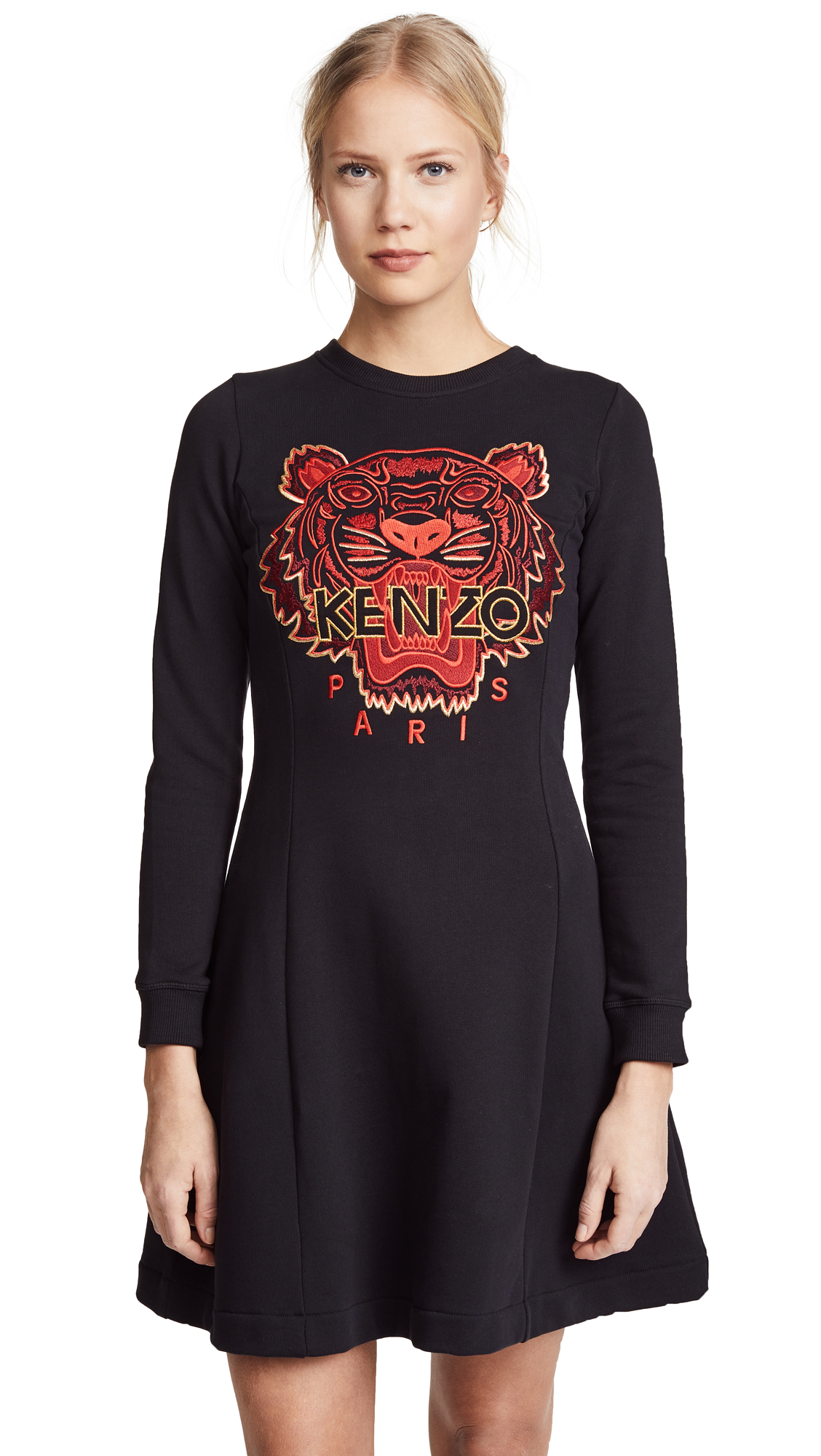KENZO Tiger Sweatshirt Dress - Black