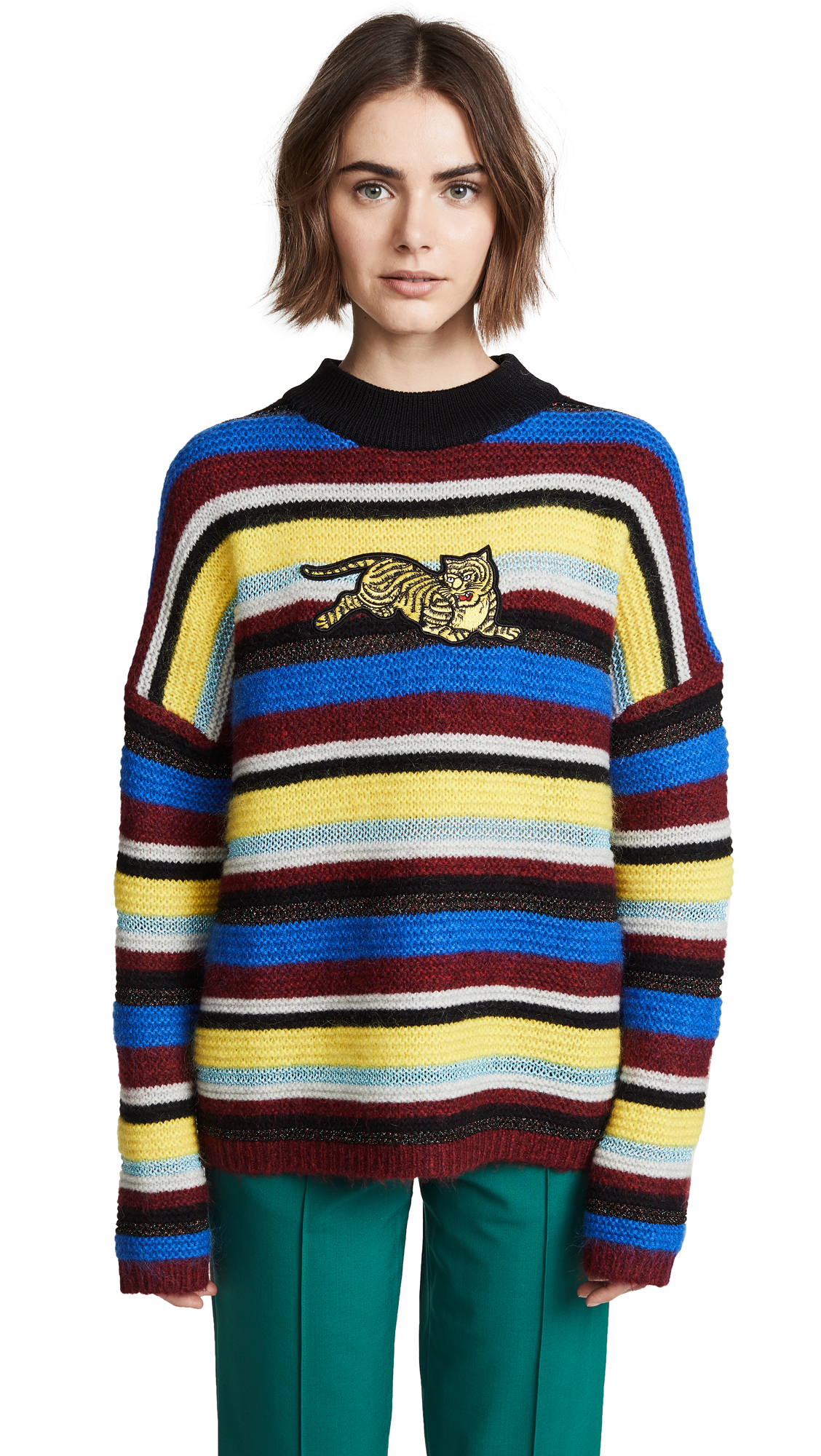 Jumping Tiger Appliquéd Striped Wool-Blend Sweater, Multicolor