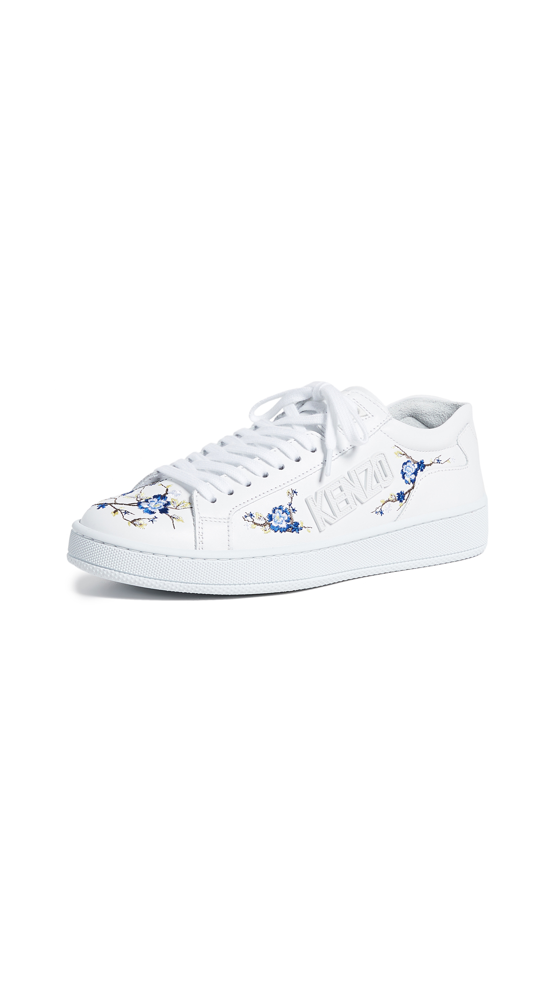 Leather Sneakers With Embroidered Flowers in White