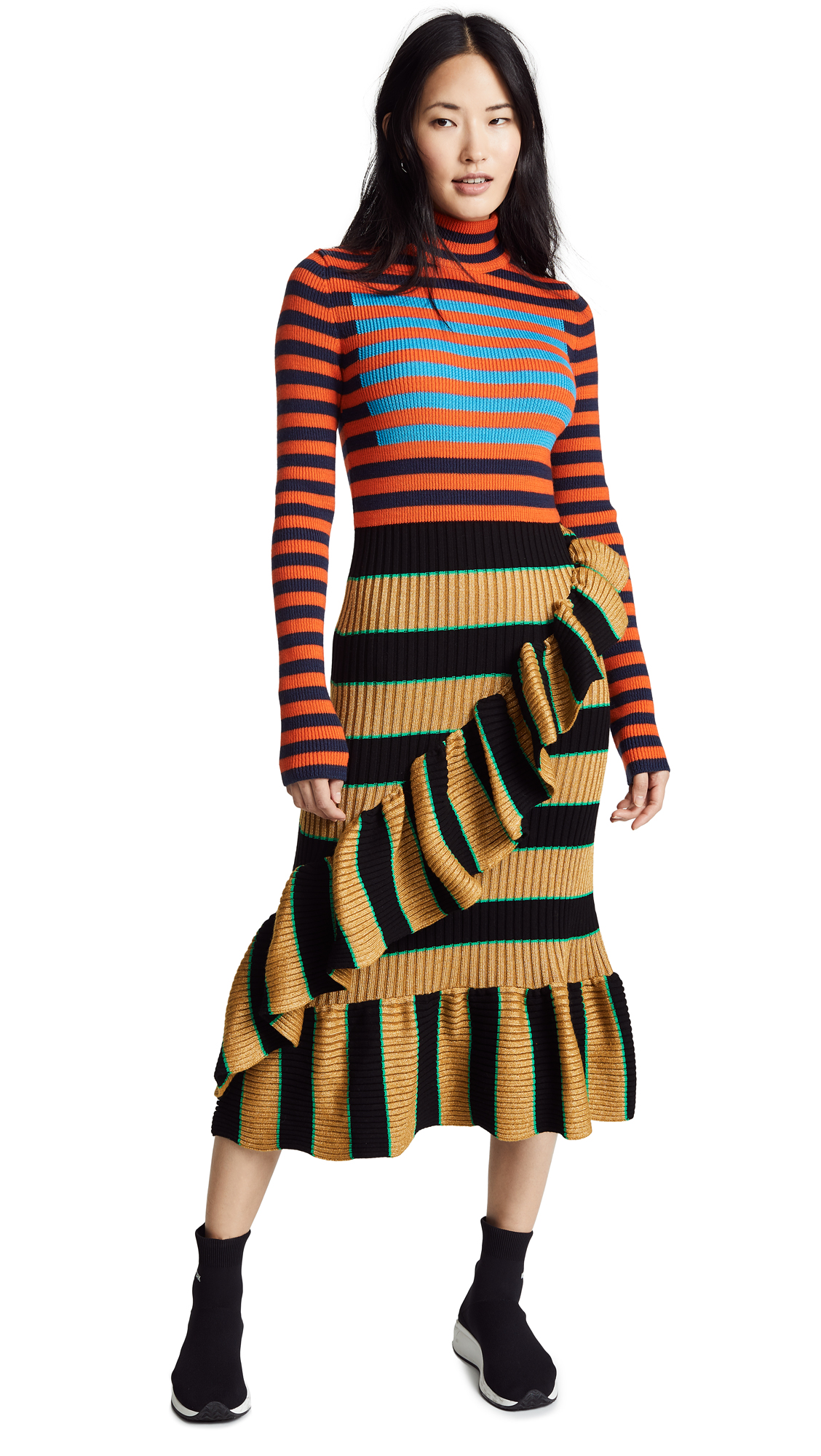 KENZO Striped Ruffle Dress - Multicolor