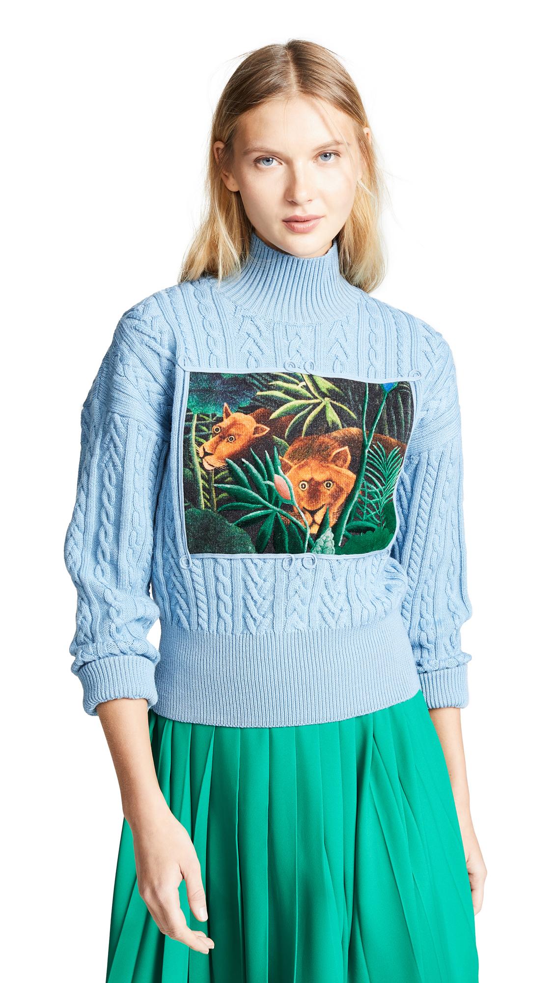 KENZO High Collar Long Sleeve Sweater - Sky Blue
