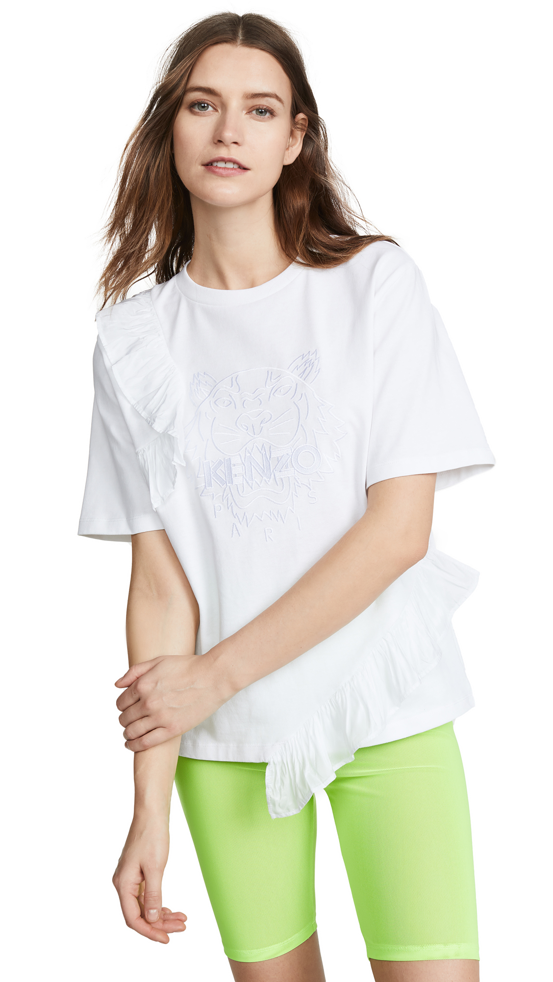 KENZO Tiger T-Shirt with Ruffles - White