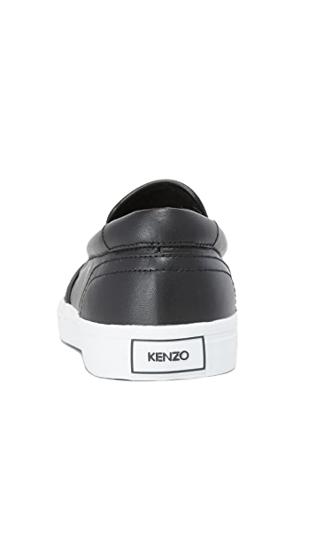 KENZO Velvet Tiger Head Leather Slip Ons