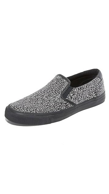 KENZO Velvet Flying Logo Leather Slip Ons