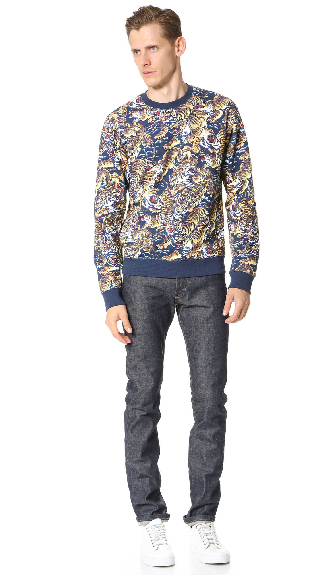8f519496 KENZO Allover Flying Tiger Sweatshirt   EAST DANE