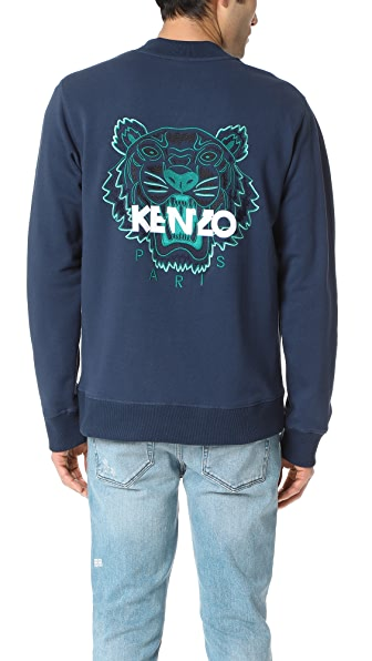 KENZO Embroidered Tiger Zip Bomber Sweatshirt