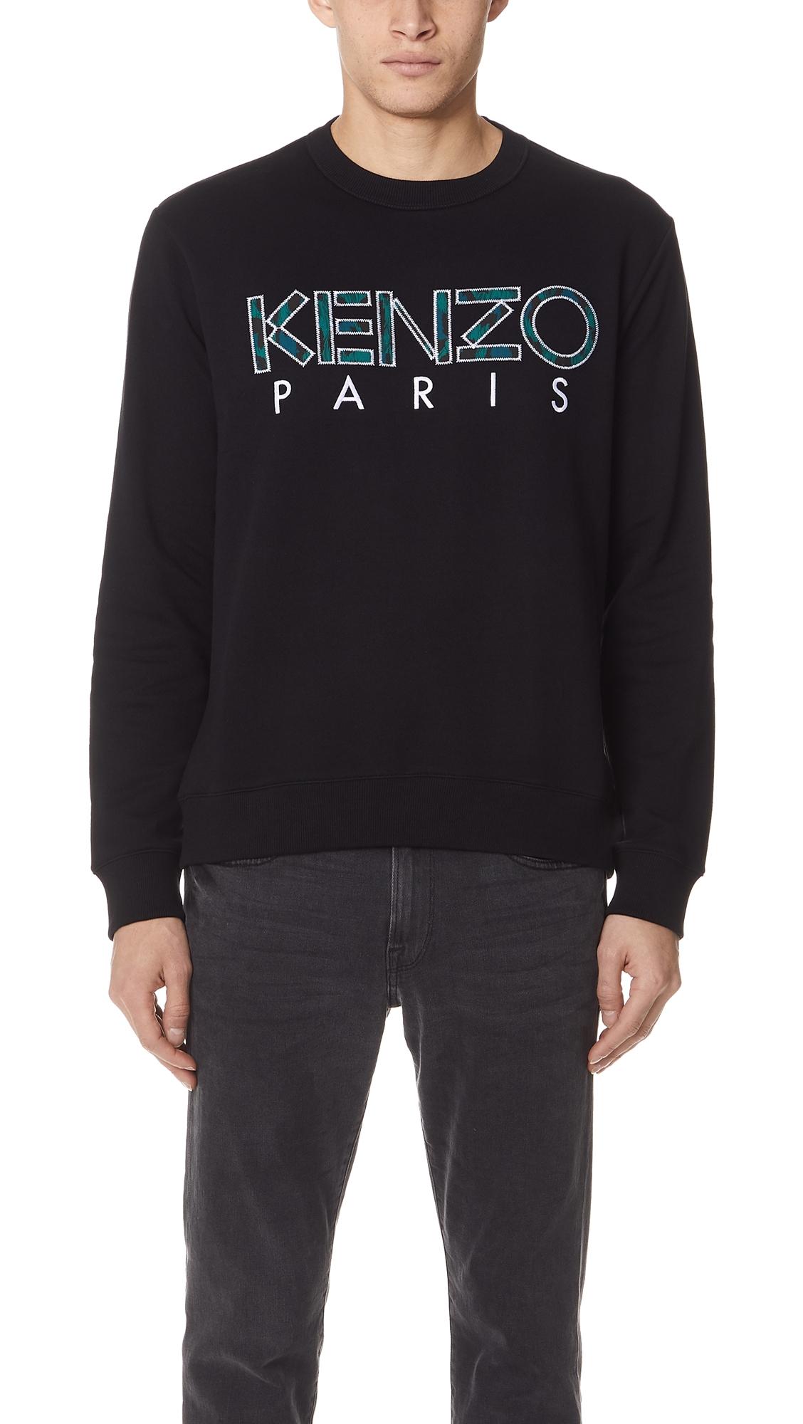 KENZO Logo-Embroidered Cotton-Jersey Sweatshirt, Black