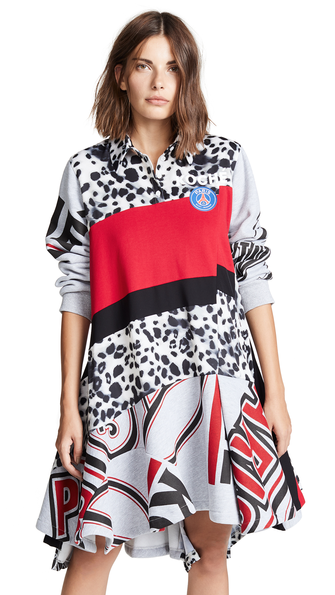 Koche Polo Girl Dress In Natural Leopard/Red/Black