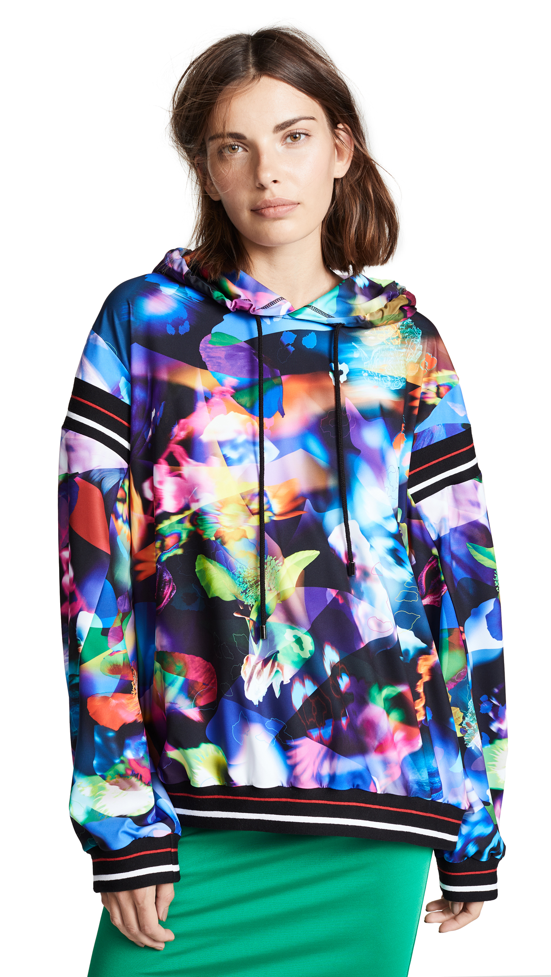 Koche Stripe Trim Graphic Hoodie In Multi Techno Flower