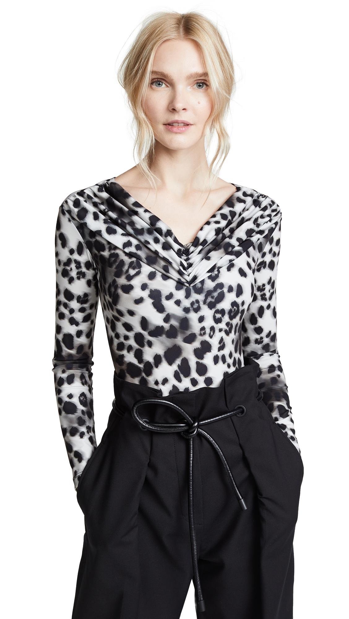 Koche Long Sleeve Bodysuit In Natural Leopard