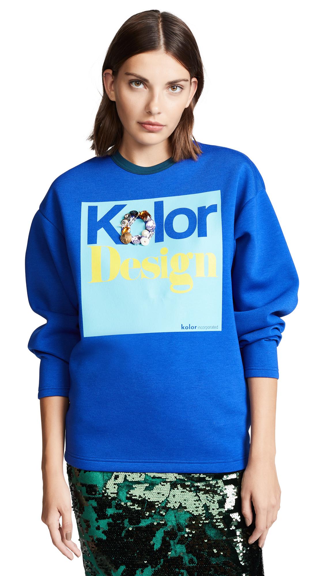 Kolor Design Crew Neck Sweatshirt In Blue