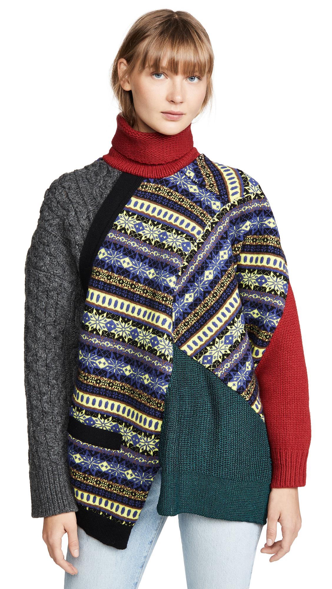 Buy Kolor online - photo of Kolor Mixed Print Patchwork Turtleneck