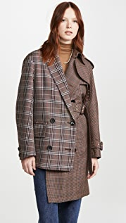 Kolor Mixed Plaid Trench