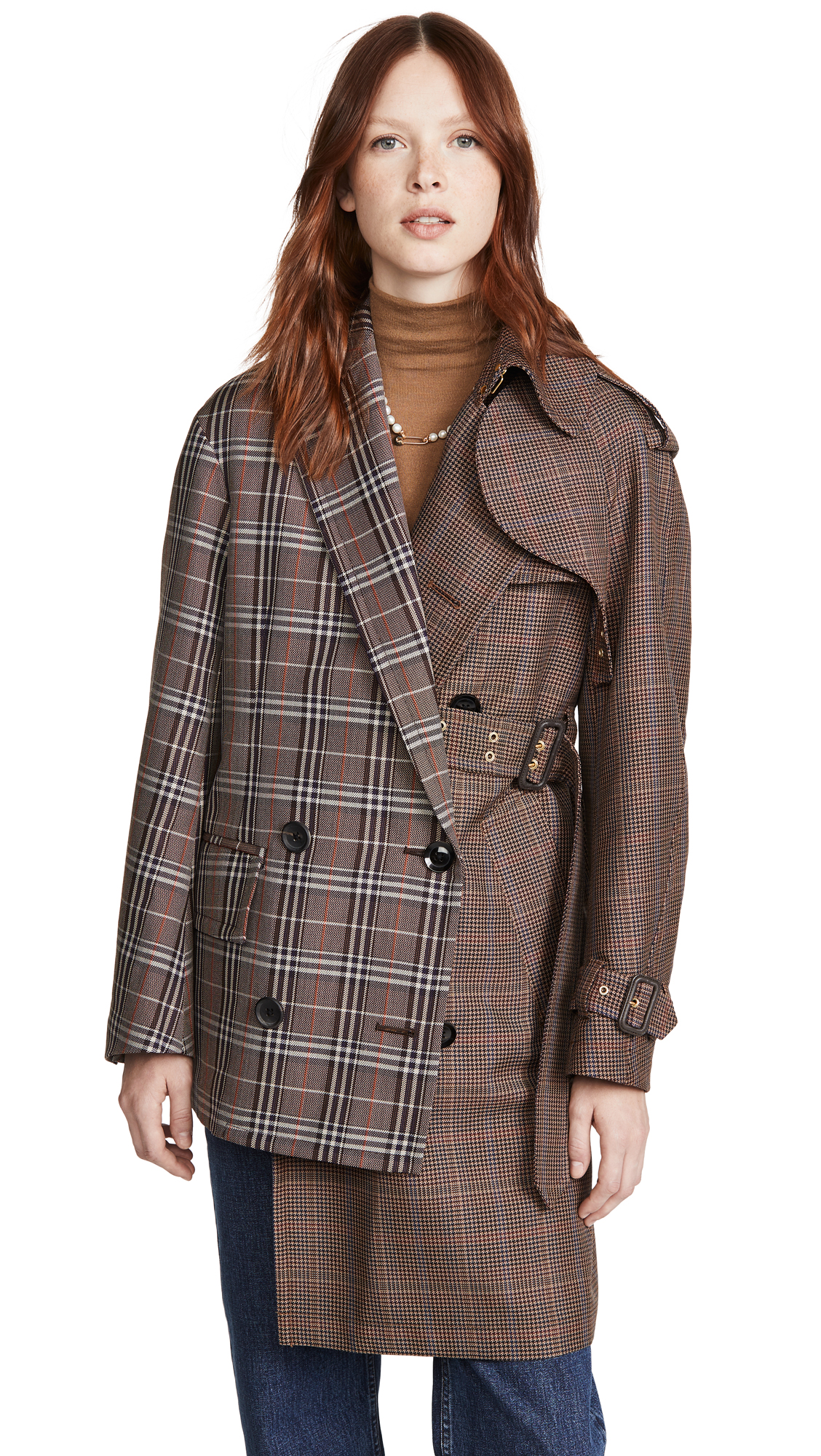 Buy Kolor online - photo of Kolor Mixed Plaid Trench