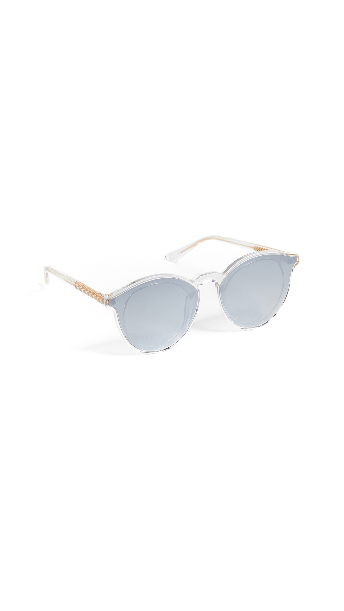 KREWE Collins Round Overlay Mirrored Sunglasses in Crystal