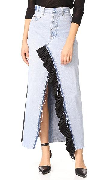 Ksenia Schnaider Reworked Denim Maxi Skirt In Blue