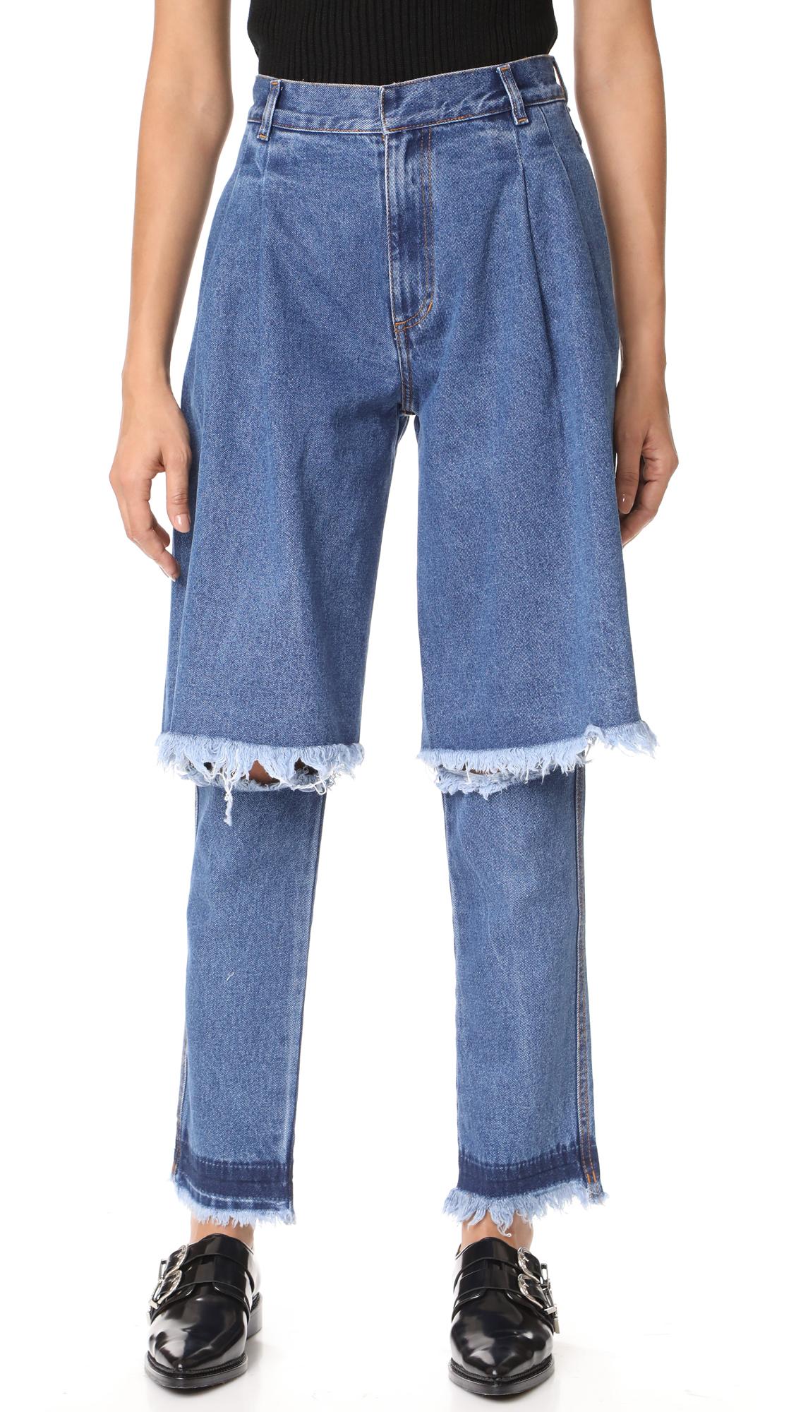 Ksenia Schnaider Dark Blue Demi Jeans In Dark Blue