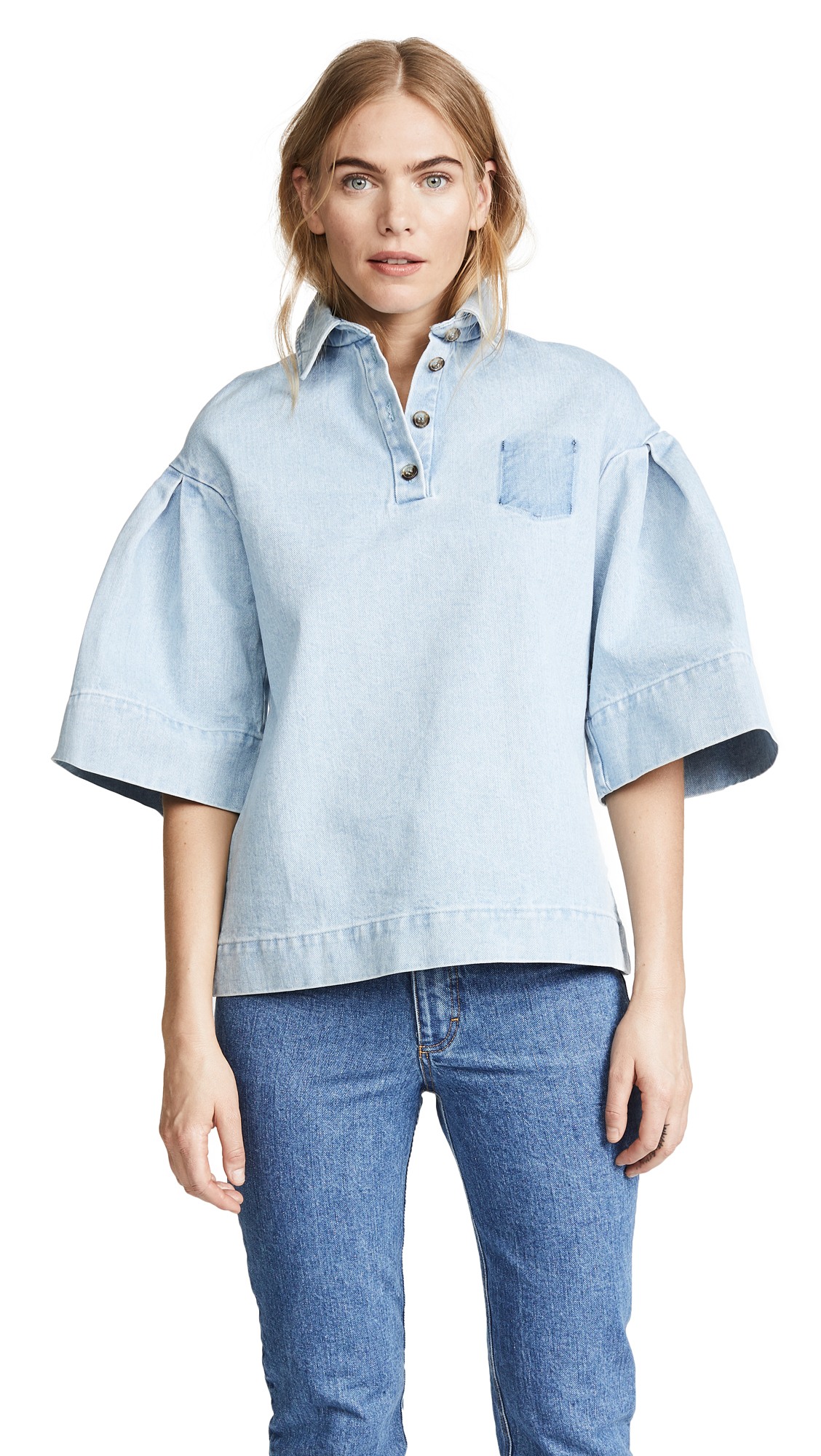 KSENIA SCHNAIDER DENIM BLOUSE