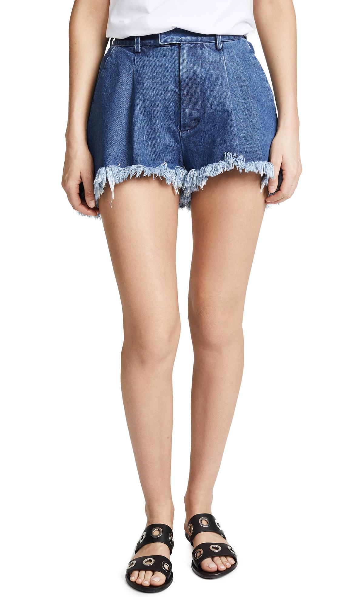 Ksenia Schnaider Fringe Short Shorts In Medium Blue