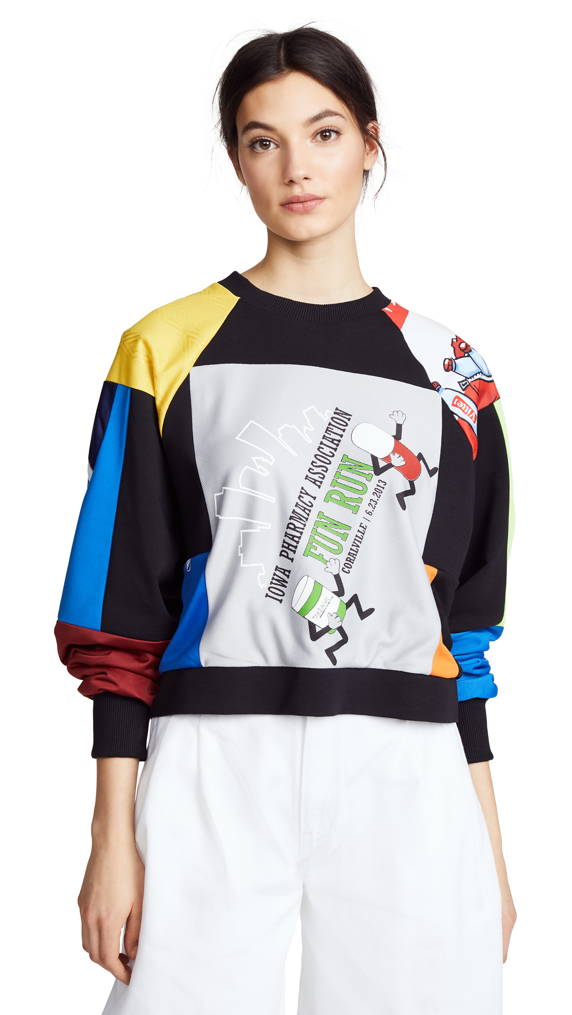 Ksenia Schnaider Cropped Vintage Sweatshirt In Multi