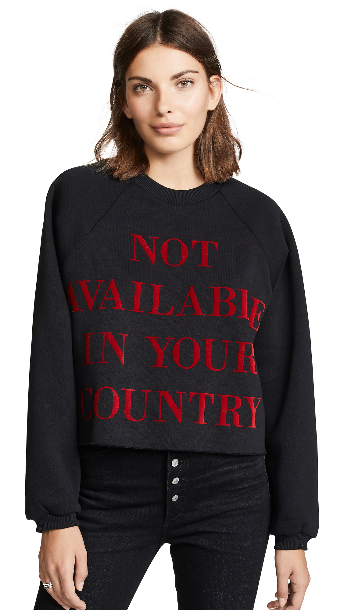 "KSENIA SCHNAIDER NOT AVAILABLE IN YOUR COUNTRY"" CROPPED SWEATSHIRT"""