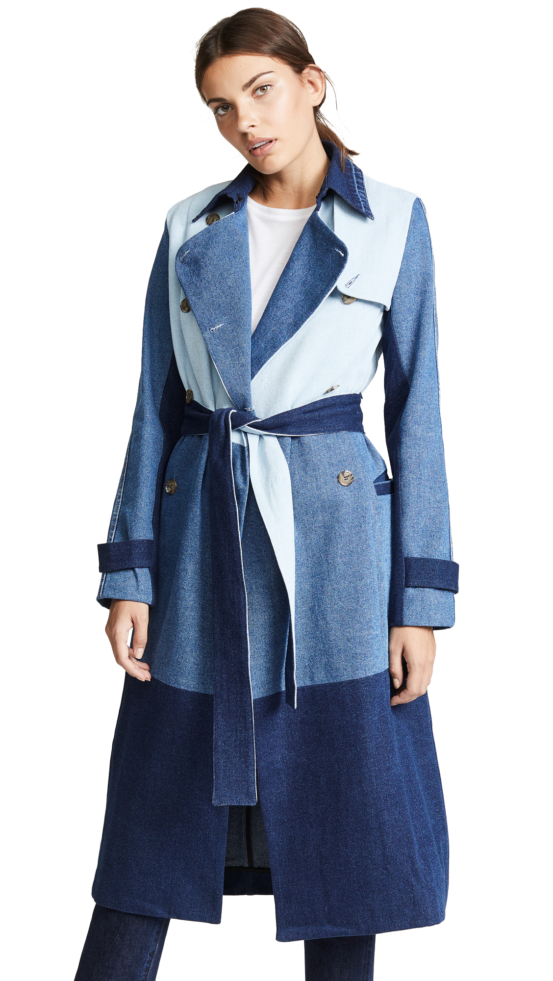 Ksenia Schnaider Denim Patchwork Coat In Mixed Blue